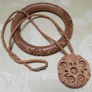 Vintage Boho Necklace Bracelet Wood Beads Hippie